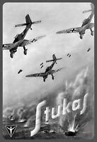 Stukas Pilote de Chasse 2. Guerre Mondiale Panneau Métallique Plaque Voûté Étain