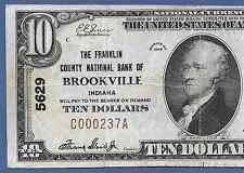 IN 1929 $10    ♚♚ BROOKVILLE, INDIANA ♚♚  THE FRANKLIN COUNTY NB