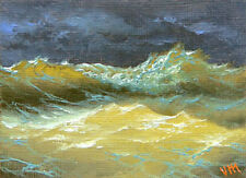 ORIGINAL ACEO OIL PAINTING Gift SEASCAPE Mini Fine Art Surf Stormy Pacific Ocean