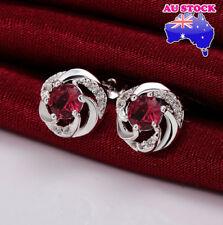 Wholesale 925 Sterling Silver Filled Red Zircon Crystal Flower Stud Earrings