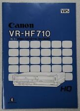 CANON VR-HF710 VHS HI FI VCR VIDEO CASSETTE TAPE RECORDER OWNERS MANUAL