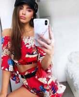 Floral Shorts & Bardot Crop Top Set