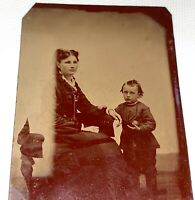 Rare Antique Victorian American Mother & Boy, Holding Ball! Odd Tintype Photo!