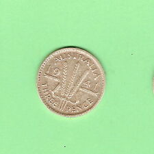 1941  AUSTRALIAN STERLING SILVER THREEPENCE COIN