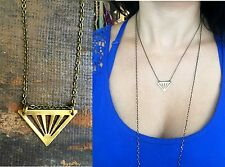 Unique Handmade Brass Triangle Vintage Bronze Chain Minimal Geometric Necklace