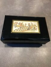 "VINTAGE JAPANESE LACQUERED MUSICAL JEWELERY BOX WITH ""CHOKIN"" DESIGN PEACOCK"