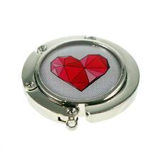 Round Handbag Hanger with Geometric Red Heart Design XHBH59