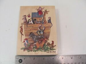 VINTAGE RETIRED WOODEN RUBBER STAMP CAROLYN SHORES WRIGHT 90135 NOAHS ARK