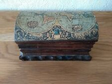 Vintage Handmade Wooden Chest Box Nova Totius Geographica Old World Map UK