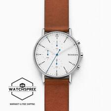 Skagen Men's Signatur Brown Leather Strap Chronograph Watch SKW6462