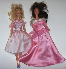Two Barbie Doll's - blonde-blue eyed - dark hair-blue eyed - pink dresses 1966