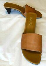 """Villager Liz Claiborne Brown Leather Slide Women's Shoes 'Paris' 2"""" Heel Size 9M"""