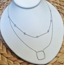 Layered Necklace-Double Strand-CZ By The Yard-Open Square-Silver Rhodium EP