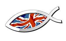 CRISTIANO Pesce Simbolo ICHTHYS Ichthus con Union Jack Bandiera Britannica Auto Adesivo