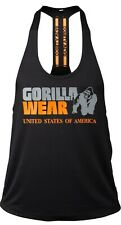 🦍UK 2XL Gorilla Wear-Nashville Stringer mens gym top. Black/Orange. New+Tags