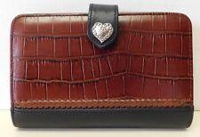 Brighton Brown & Black Croc Embossed Leather Organizer Wallet Clutch Handbag