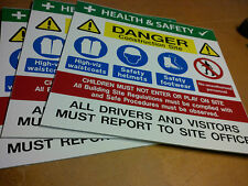 Site Safety Construction Multi-sign 500 x 500mm   * TRADE PACK OF THREE  *
