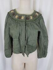 Boston Design Studio Linen Olive Cropped Snap Up Beaded Blazer Jacket Womens 12P