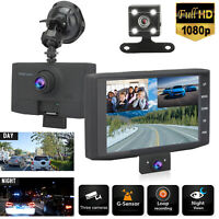 4'' 1080P 3 Lens Front & Rear & inside Dash Camera Video Recorder Night Vision
