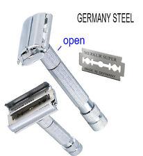GERMAN Butterfly Double Edge Safety Razor Twist To Open & 1 merkur blade Germany