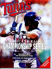 1991 Minnesota Twins vs Toronto Blue Jays ALCS Program Kirby Puckett on Cover