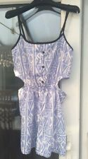 River Island Blue Aztec Print Cut Out Playsuit Size Small Holiday