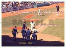 MICKEY MANTLE HR IN 1961 RUN RACE WITH MARIS & BERRI ON DECK HISTORIC 5x7