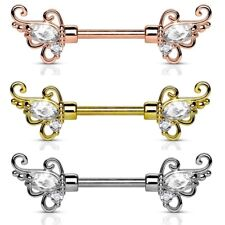 "FLORAL FILIGREE w/CLEAR CZ's NIPPLE PIERCING BARBELLS 14g 1/2"" (Sold in Pairs)"