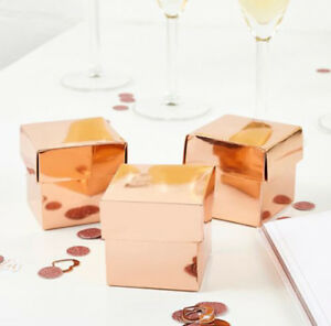 10 ROSE GOLD GIFT FAVOUR BOXES 50 x 50 x 50mm WEDDING PARTY BABY SHOWER