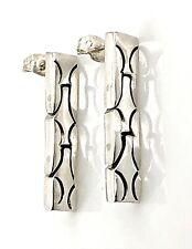 Vintage Sterling Silver Modernist Swinging Hinged Triple Piece Post Earrings