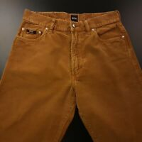 HUGO BOSS MONTANA Mens Vintage Cord Trousers W31 L30 Brown Regular Straight High