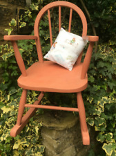 Child's vintage rocking chair, Scandinavian pink, up cycled with vintage cushion