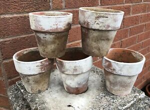 5  Vintage Beautifully Aged Terracotta Plant Pots
