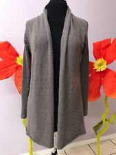 Vince Cashmere Sweater Cardigan Brown Gray Ribbed Long Sleeve