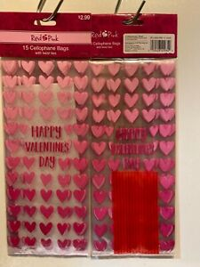CVS 15-Count Cellophane Bags with Twist Ties - Clear Bags Pink Hearts Valentines