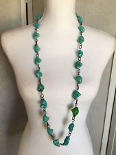 """Fashion Faux Turquoise Chunky Stone Beads W/Silver Chain 42"""" Necklace"""