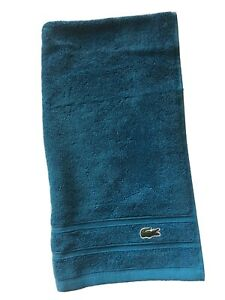 """NEW Lacoste Signature Croc Hand Towel Lagoon Teal Blue Solid 16 X 30"""""""