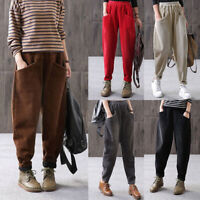 Women's Elastic High Waist Pants Casual Loose Corduroy Harem Trousers