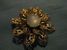 Vintage Filigree  Floral Blossom Pin with Moonstone Center