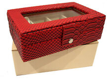 RED BLACK EARRING RING BEADS STORAGE DISPLAY JEWELLERY CASE BOX ALLIGATOR EFFECT