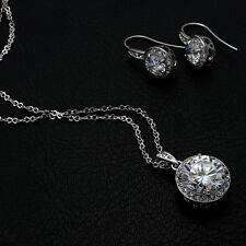 Set Joyas Pendiente Colgante oro blanco 18k Chapado Cristal Regalo Nuevo