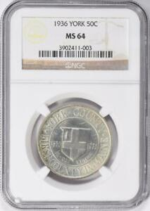 1936 York Commemorative Silver Half Dollar - NGC MS 64 - Mint State 64