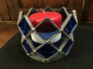 1-Silver Metal & Blue Stained Glass Tiles Design Candle Holder 1-BLUE ART Glass