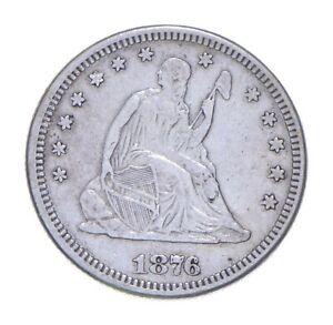 TOUGH 1876 Seated/Bust Liberty Quarter Early US Coin Historic *610