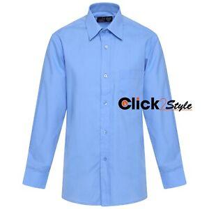 Boys Children Kids School Uniform Shirt Long Sleeve Blue Colour