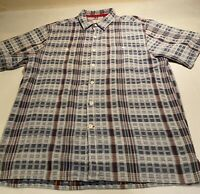 The Territory Ahead Sz L Blue Plaid S/S 100% Cotton Thick Button Shirt