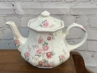 Vintage Sadler Windsor Basket Weave Teapot with Pink Roses