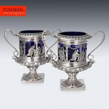 More details for antique 20thc german neo-classical solid silver & glass wine coolers c.1900
