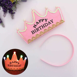 Cutest Pink Light-Up LED Children Birthday Crown Kids Girls Party Flashing Hat