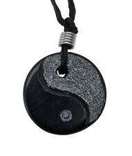 Yin Yang Black Obsidian Gemstone Pendant Hand Carved Stone Necklace Jewelry